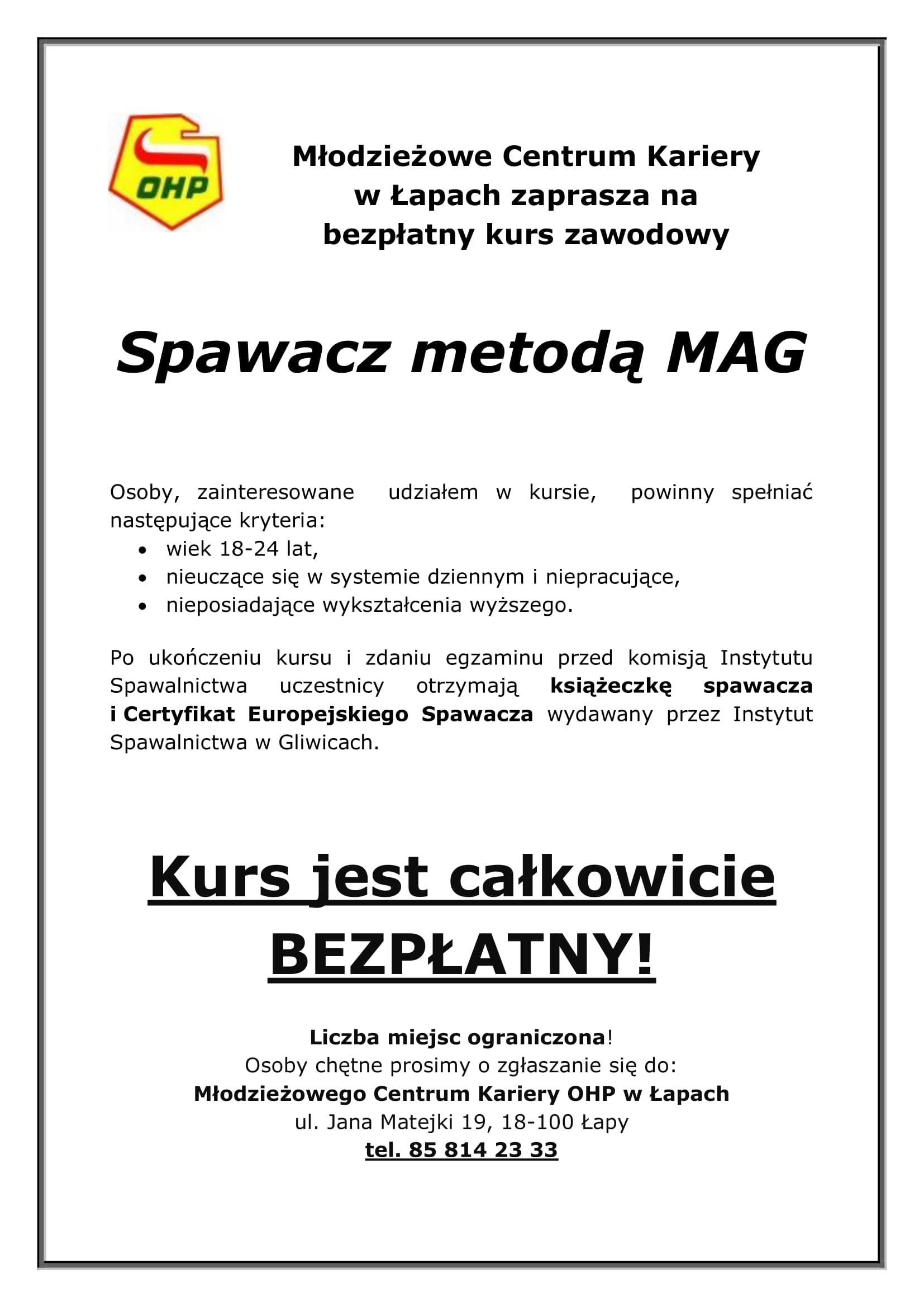 Ogłoszenie o kursie MCK Łapy-1
